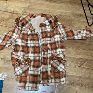 Vintage plaid fringe wool jacket